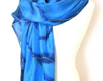 Navy blue scarf, large silk scarf, everyday silk scarf