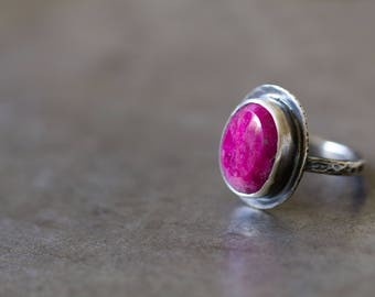 Raw Rose Cut Ruby Ring, Raw Gemstone Ring, Raw Ruby Ring, Sterling Silver Cocktail Ring - Size 8.5 - Origins