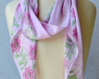 Vera Neumann long vintage silk scarf: Pale Pink, Flowers, Silver, Spring Green, Wing Tipped, Sheer, Summer