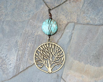Tree of Life Necklace, Natural Stone Necklace, Magnesite Necklace, Wire Wrapped Necklace, Turquoise Necklace, Blue Necklace, Tree Jewelry