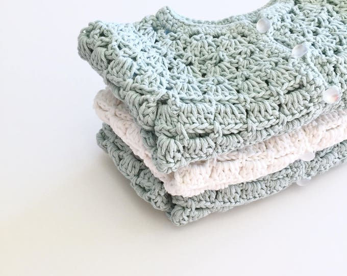 Featured listing image: Lace Baby Cardigan Sweater in Cotton Yarn