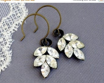MOVING SALE On Sale Frozen Leaf, Simple Rhinestone Romantic Leaf Earrings