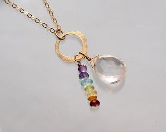 7 Chakra Necklace with Clear Quartz | Chakra Stones | Gold Chakra necklace | ENERGY Jewelry | Chakra Jewelry | Chakra Crystals