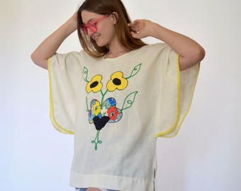 70s Canvas Floral Embroidered Angel Sleeve Caftan Tunic xs s m