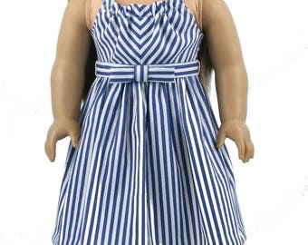 "18"" Doll Clothes fits American Girl Dolls - Dandelion Days Sundress in Blue Stripes"