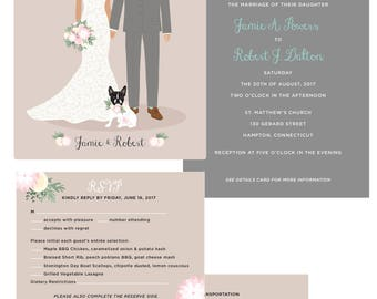 Custom couple portrait wedding invitation
