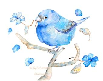Office wall art, Watercolor bird, Bluebird Print, home office decor, housewarming gift, bluebird happiness, bluebird painting, blue wall art