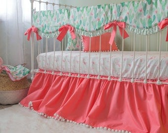 Mint and Coral Cactus Blossom Crib Bedding Set | Baby Girl Custom Nursery | Bumperless Baby Bedding feat. Rail Cover & Pom Trim Ruffle Skirt