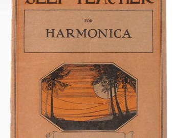 """1914 """"National Self Teacher for Harmonica"""" Instruction Booklet Musical Scores Basic Instruction and Technique"""