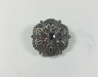 Antique 925 Sterling Silver Brooch Garnet and Citrine Gemstones