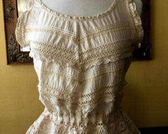 Tea Dyed Cotton and Lace Top, Altered Couture, OOAK Design, Bridal Top, Recycled/Up*Cycled Clothing
