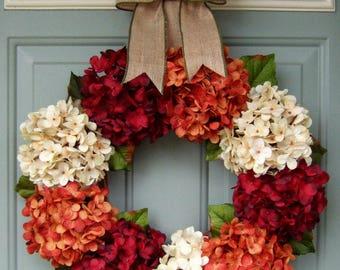 Fall Wreath - Fall Hydrangea Wreath - Fall Hydrangea Door Wreath