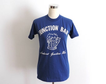 Junction Bar T Shirt Amherst Junction WI Blue Small