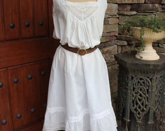 Antique Edwardian Cotton Night Gown Sun Dress with Embroidery and Lace