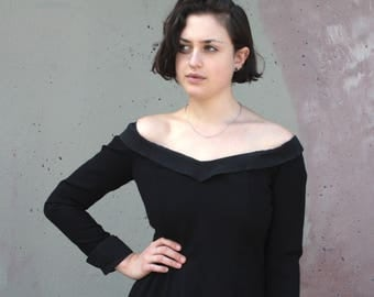 Vintage 1980s Dress // 80s Trent Nathan Black Crepe Wool Fitted Cocktail Dress with Wide Scoop Pointed Collar and Double Slit Back Skirt