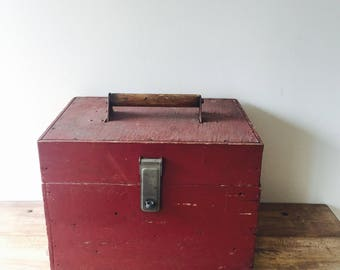 Vintage Handmade Red Wooden Storage Work Box, Work Box, Wooden Tool Box, Portable Bar, Office Storage