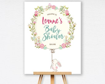 Delightful Bunny Baby Shower Welcome Sign | White Rabbit Baby Shower Sign | Custom  Welcome Sign |