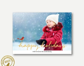 Happy Holidays Card, Photo Christmas Card, Christmas Tree Photo Card, Printable Christmas Card, Family Christmas 7008