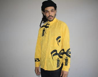 Bellows Brut Designer Le Garage French Mickey Mouse Disney Hip Hop Rap Rapper Fresh Prince VTG 90s Graphic Button Up Dress Shirt - MV0382