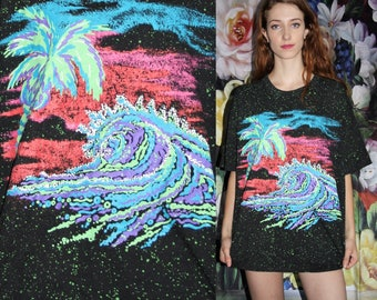 Vintage 1990s Neon Paint Splatter Palm Tree Graphic Black Oversized T Shirt - 1990s Vintage Tees - 90s Clothing - WV0429