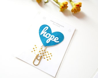 Hope blue heart planner clip, bible journaling kit, college student gift, back to school sales, gifts teacher appreciation, day planner 2017