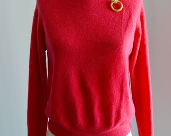 St Michael Flamingo Pink Pure Cashmere Sweater Twiggy Brooch Fall Mark & Spencer