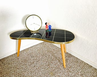 Rare Mosaic Mid Century Modern Plant Table Stand Tripod German Kidney Side End  Table Space Age