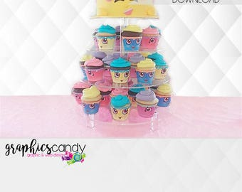 Shopkins Inspired Cupcake Wrappers - Printable - DIY - Digital File - INSTANT DOWNLOAD