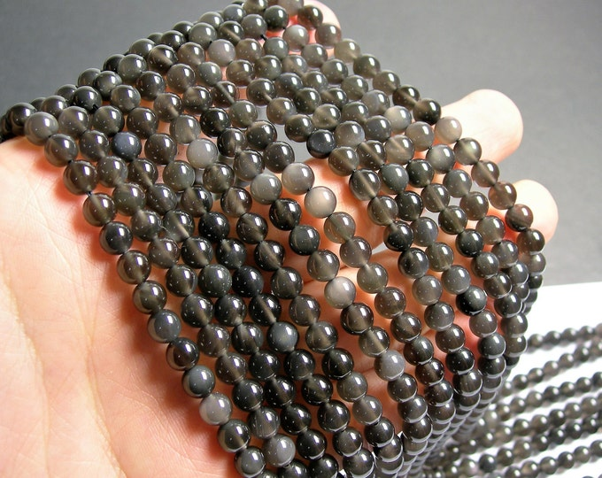 Obsidian grey  - 6mm(5.7mm) round beads -1 full strand - 70 beads - A quality - rare - RFG1344