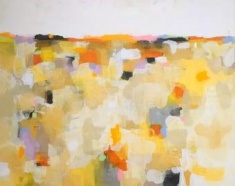 Large Yellow Abstract Landscape- Sunshine Mosaic Landscape