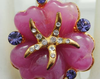 Petite Beach Starfish Ring/Pink/Violet/Gold/Rhinestone/Summer Jewelry/Gift For HerAdjustable/Under 12 USD