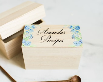 recipe box gift for bride name bridal shower gift wood box wedding gift with