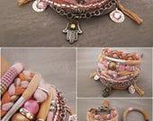 Peach Pink Bohemian Bracelet, Boho Bracelet Set, Pastel Layering Bracelets, Gypsy Bracelet, Hippie Jewelry, Hamsa Charm Bracelet