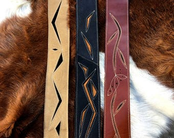Leather Guitar Straps handmade adjustable