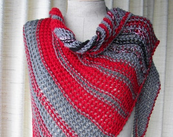 Hand Knit Asymmetrical Shawl Triangle Scarf Wrap in RED GRAY BLACK 100% Anti Pill Acrylic / Color Block Stripes