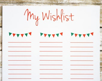 Printable Christmas List For Kids, Blank Christmas List, Christmas List  Printable, PDF Christmas  Christmas Wish List Printable
