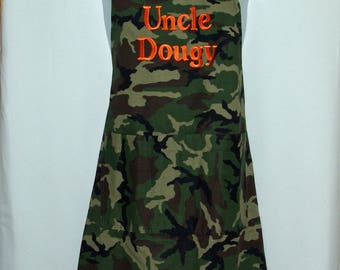 Camouflage Camo Apron Men, BBQ Cooking, Boyfriend,  Hubby, Custom Uncle Gift, Personalized With Name, No Shipping Fee,  Ship TODAY AGFT 1068