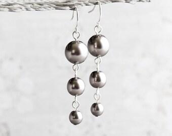 Dark Gray Crystal Pearl Dangle Earrings on Silver Plated Hooks