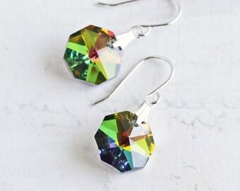 Rainbow Vitrail Crystal Dangle Earrings on Silver Plated Hooks