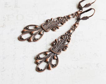 Large Antiqued Copper Plated Filigree Long Drop Earrings