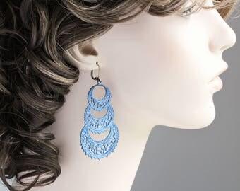 Large Blue Patina Filigree Hoop Dangle Earrings (Hand Patina)