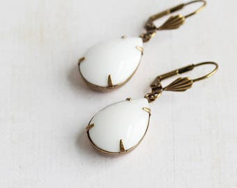 White Drop Earrings, Rhinestone Teardrop Earrings on Antiqued Brass Hooks, Opaque White Earrings, Everyday Earrings, Retro Style Jewelry