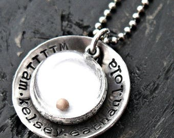 Personalized Sterling Silver Necklace, Mustard Seed Necklace, Hand Stamped Necklace, Scripture Necklace, Inspirational Necklace