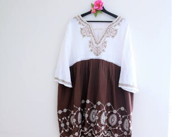 Embroidered plus size dress, upcycled clothing for women, summer dresses, Rustic clothes Casual Art to wear clothing Bohemian maternity 3xl