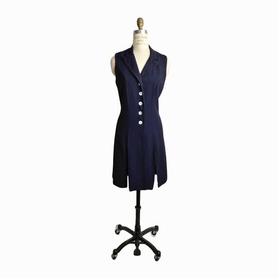 Vintage 90s Cross-Back Dress in Navy Blue  / 90s Minimalist Dress - women's size 6