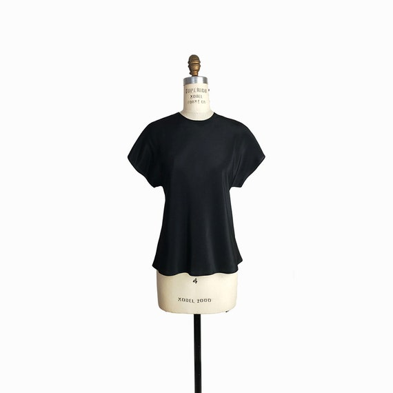 Vintage 1970s Black Luster Keyhole Blouse / Minimalist Black Top / Short Sleeve Blouse - women's small