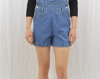 Vintage Denim Shortalls, Size XS- Small, Overall Shorts, Grunge, 90's Clothing, Tumblr Clothing, My So Called Life, Denim Overall Shorts