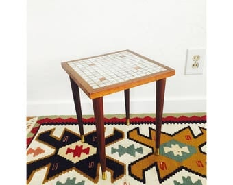 Mid Century Mosaic Side Table / Plant Stand