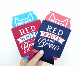Red White & Brew // Can Cooler // 4th of July