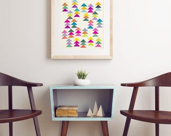 Pine Tree Art, Geometric Pattern Print, Colourful Wall Decor - Lost in a Forest